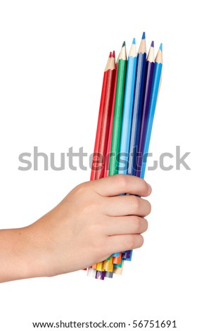 Hand holdinh many colored pencils isolated on white background - stock photo