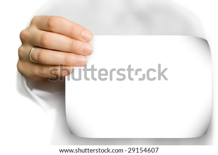 hand holds a blank white business card