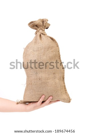 Hand holds bag with euro banknotes. Isolated on a white background.