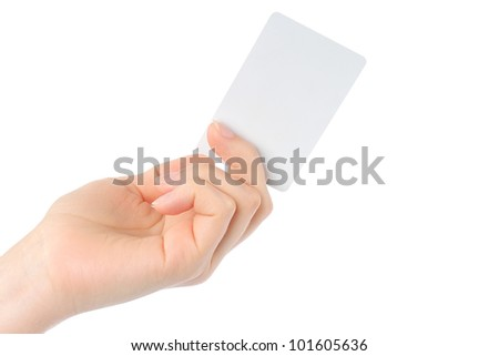Hand holds charge card on white background - stock photo