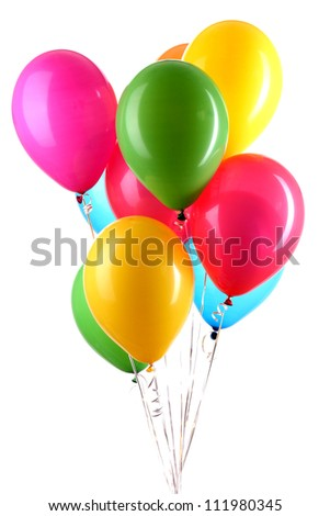 Hand holds colorful balloons isolated on white