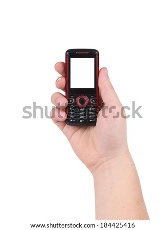 Hand holds red-black cell phone. Isolated on a white background. - stock photo