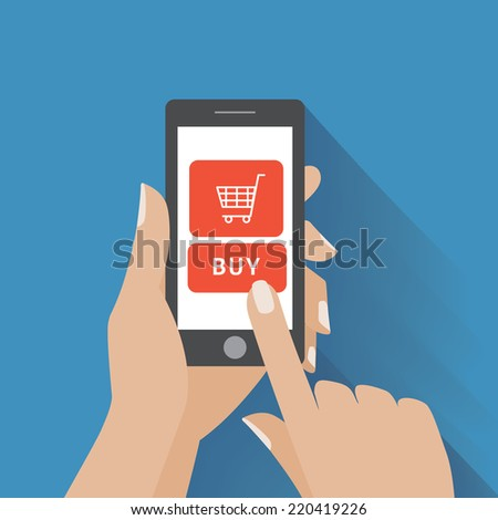 Hand holing smart phone with buy button on the screen. E-commerce flat design concept. Using mobile smart phone for online purchasing - stock photo