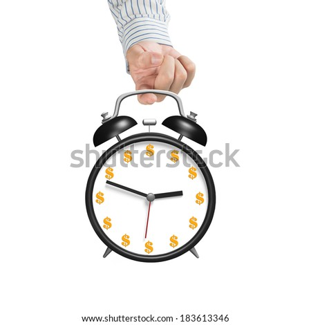Hand hooking alarm clock with money face isolated in white background - stock photo