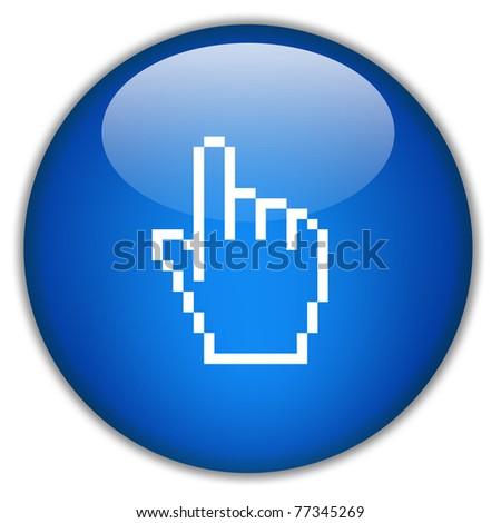 Hand icon, click here - stock photo