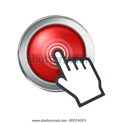 Hand icon over red button - stock photo