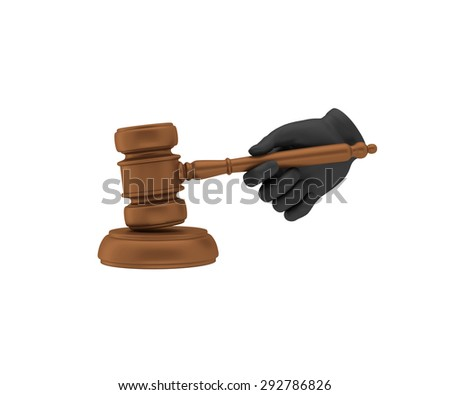 Hand in a black glove holding a gavel. 3d render. White background.