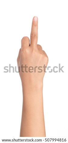 hand in a gesture meaning in Western cultures Fuck you or fuck off isolated on white background