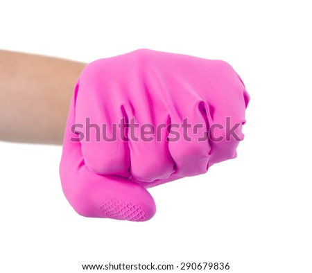 Hand in a rubber glove gesturing fist isolated on white background - stock photo