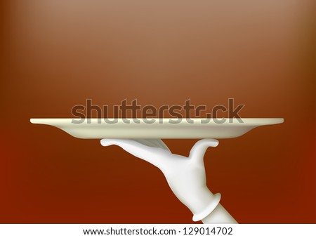 Hand in a white glove holding a tray - stock photo
