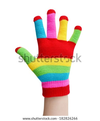 hand in a woollen glove isolated on a white background - stock photo