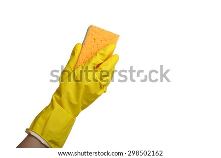 Hand in cleaning gloves with sponge for washing on a isolated white background