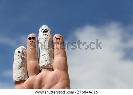 hand in front of blue sky, injured finger, concept insurance or accident - stock photo