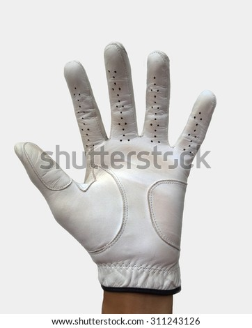 Hand in golf glove show five fingers - stock photo