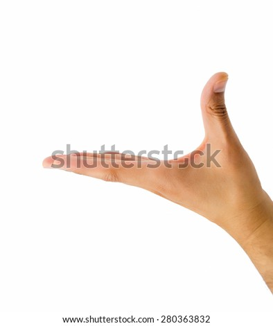 hand in horizontal to holding something with white background - stock photo