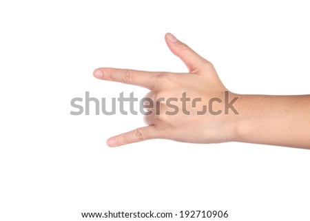 Hand in I love you isolated on white - stock photo