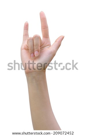 Hand in I love you isolated on white with clipping path.