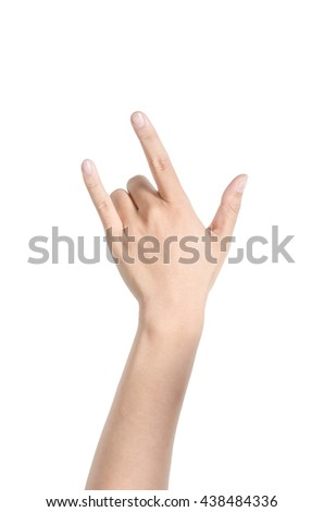 Hand in I love you on white background