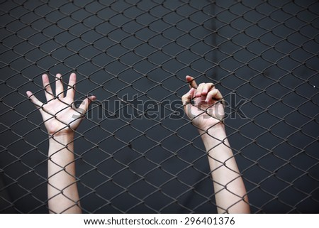 hand in jail - stock photo