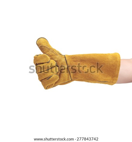 hand in leather work gloves - stock photo