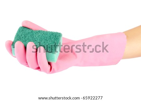 Hand in rubber glove holding a kitchen sponge isolated on a white background - stock photo