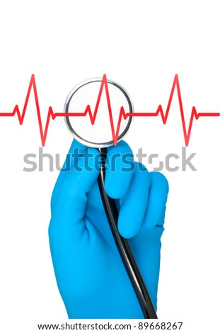 Hand in rubber glove holding stethoscope heartbea listening.