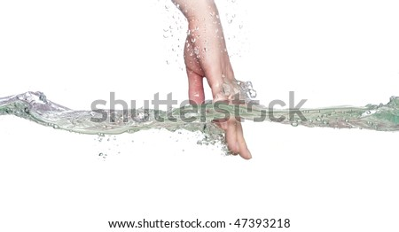 hand in water on a white background - stock photo