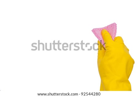 Hand in yellow glove with pink sponge isolated