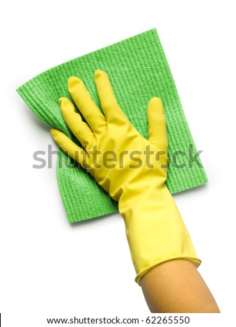 Hand in yellow glove with sponge isolated on white background - stock photo