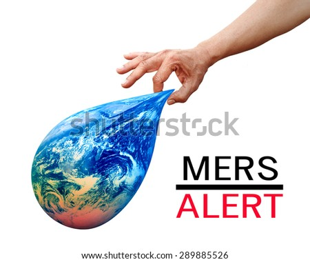 Hand index and thumb picking global Earth flexible with MERS Middle East Respiratory Syndrome ALERT  Elements of this image furnished by NASA - stock photo