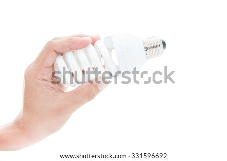 Hand installation light bulb on white background and clipping pat - stock photo