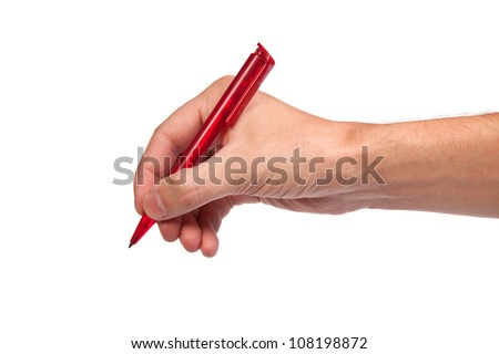 Hand is holding a pen writing on the white background - stock photo