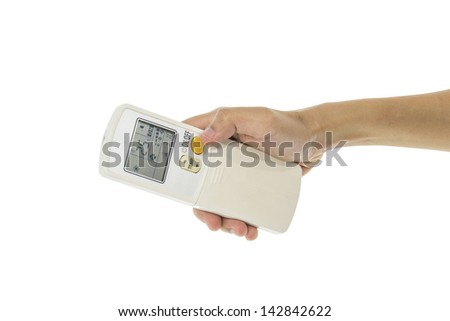 Hand is holding a remote control of air conditioner 25 degrees Celsius only with clipping paths