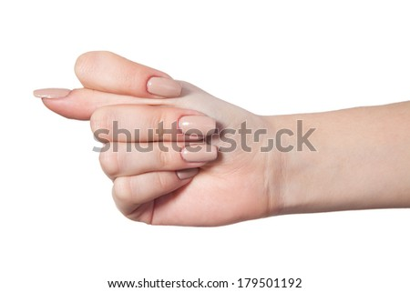 Hand is showing a fig sign isolated on a white background