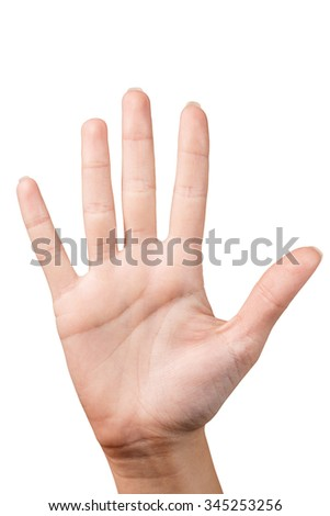 Hand is showing five fingers isolated on white background - stock photo