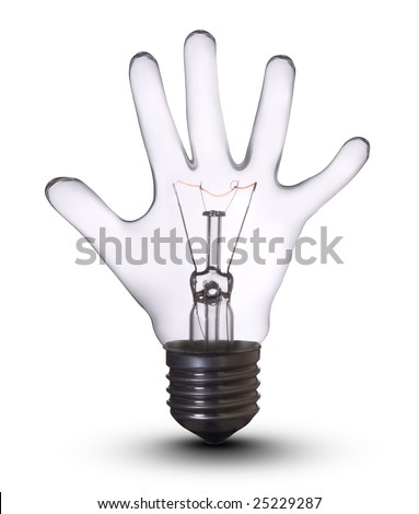 Hand lamp bulb. Lightbulb Concept of Business Success, Saving Energy and Ecology Environment - stock photo