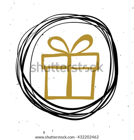 Hand lettering, calligraphy black and gold style banners, labels, signs, prints, posters, the web. Gift. illustration - stock photo
