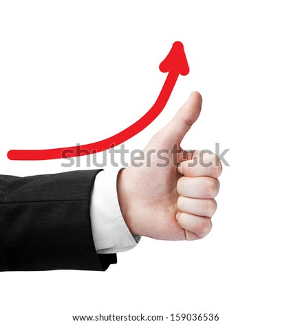 hand like and red arrow on a gray background - stock photo