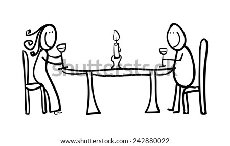 Hand line drawing of a couple - sticky figures with wine and candle  - stock photo