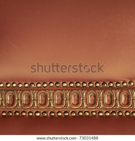 hand-made chair leather back detail - stock photo