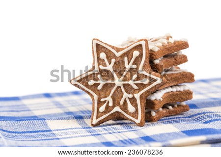 Hand-made Christmas gingerbread isolated on white background - stock photo