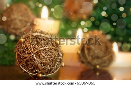Hand made Christmas ornaments with defocused background lights - stock photo