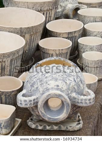 Hand made clay jugs - stock photo