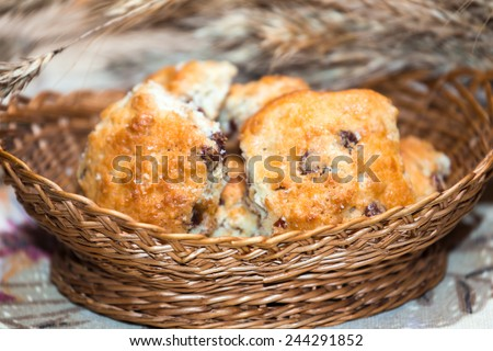 Hand-made crisp biscuits in wicker basket with oat ears - stock photo