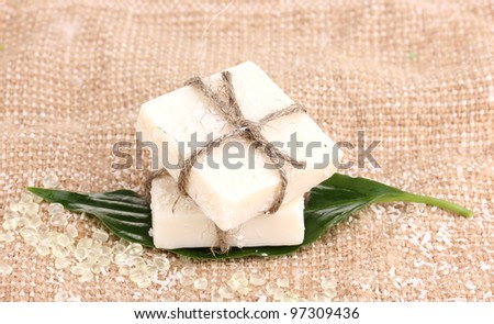 Hand-made herbal soap on sackcloth