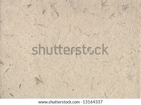 Hand made paper with embedded plant stems and leaves. - stock photo