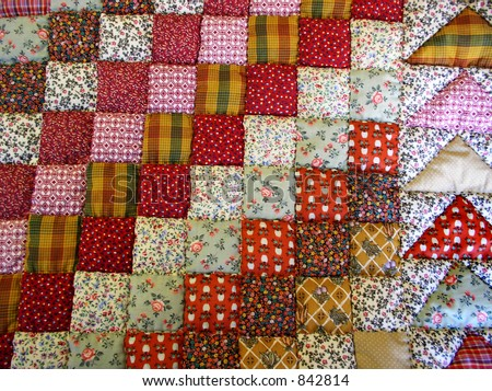 hand-made quilt - stock photo