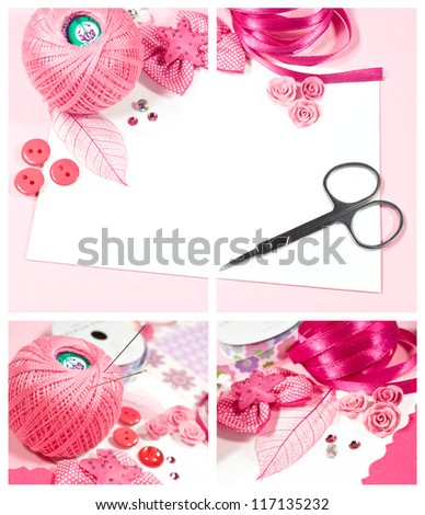 hand made set of materials for scrapbooking - stock photo
