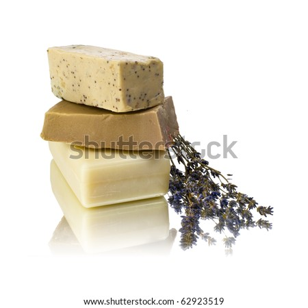 hand made soap with white background - stock photo
