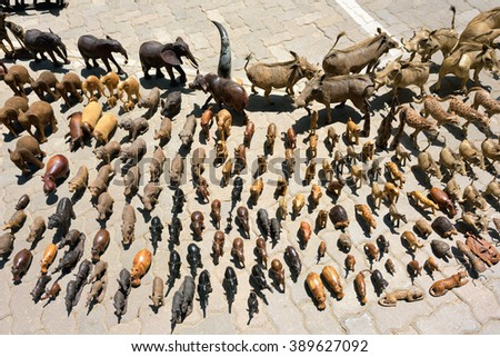 Hand made souvenirs - african animals shown on the craft market in Swakopmund. Local hand made toys and other african goods very popular between tourists - stock photo